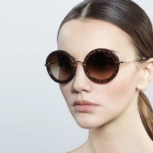 Miu Miu Brown Glitter Round Sunglasses